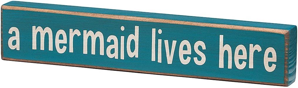 A Mermaid Lives Here - Vintage Coastal Mini Wood Sign - 8-in (Small)