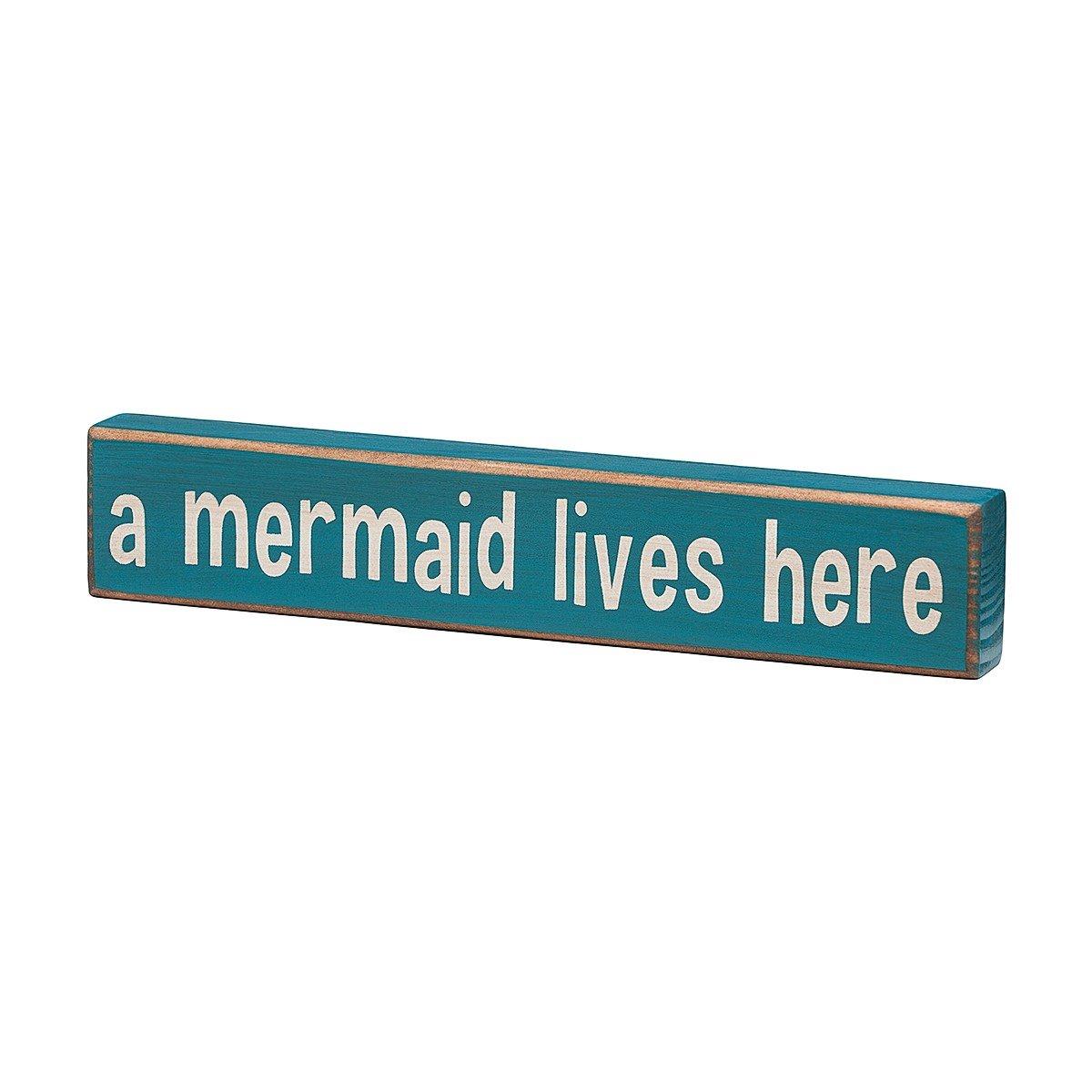 Amazon.com: A Mermaid Lives Here - Vintage Coastal Mini Wood Sign ...