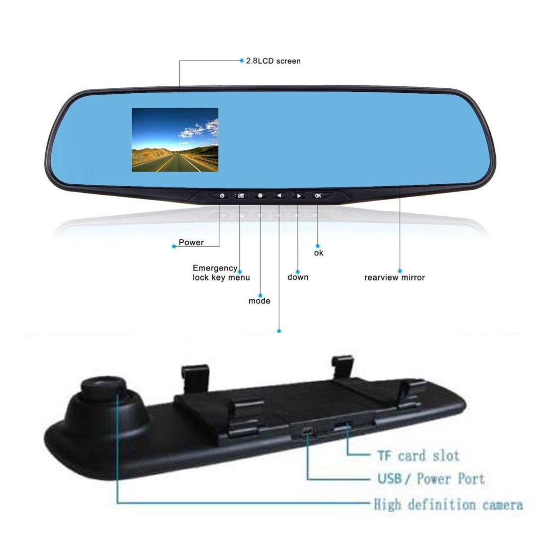 Amazon.com: eDealMax 2,8 pulgadas TFT LCD HD 1080P del coche DVR Espejo retrovisor Con cámara grabadora de vídeo Dash Cam Azul Soporte del G-Sensor de ...