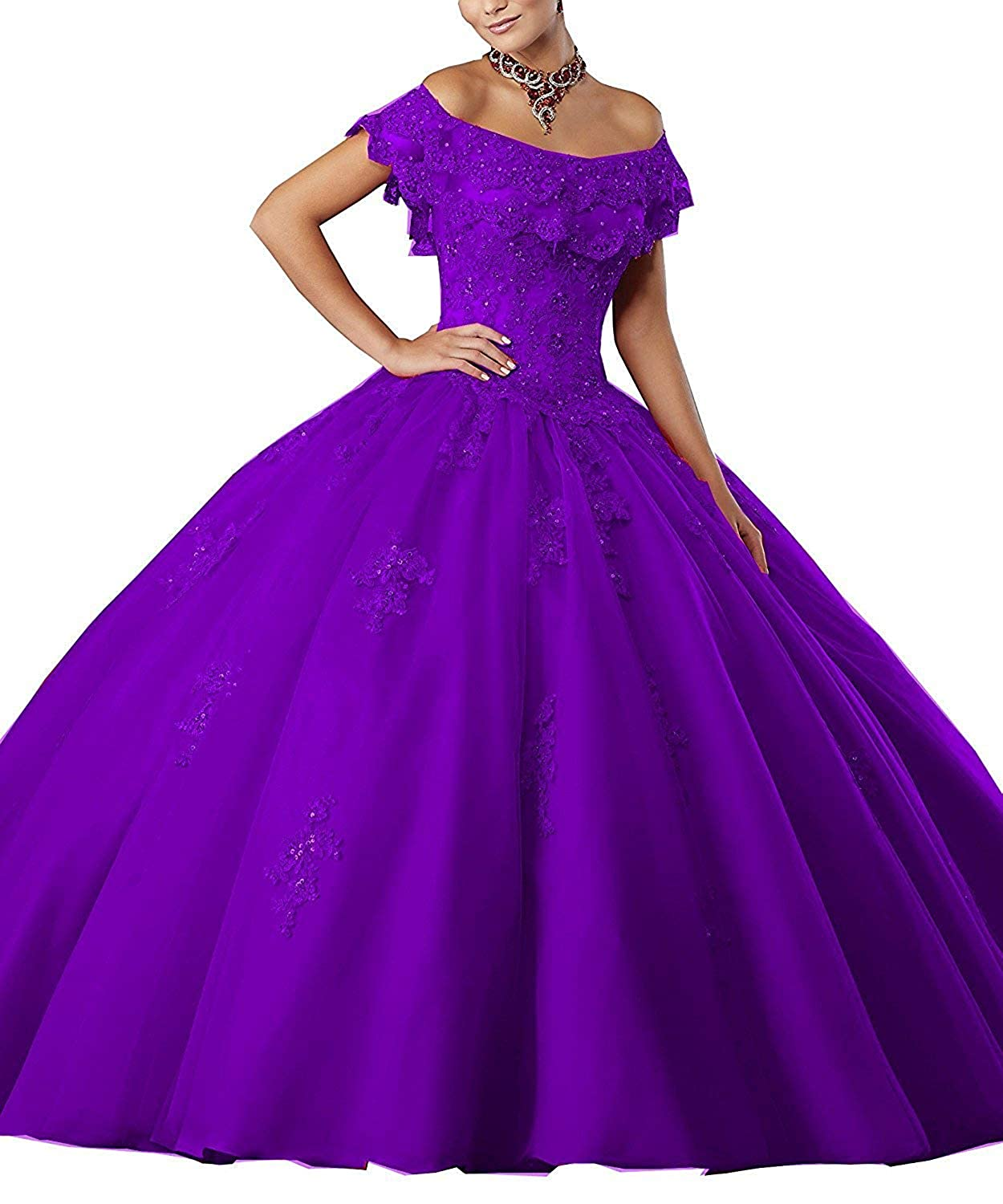 Gemila Womens Off-Shoulder Lace Applique Beaded Ball Gown Sweet 16 Dresses