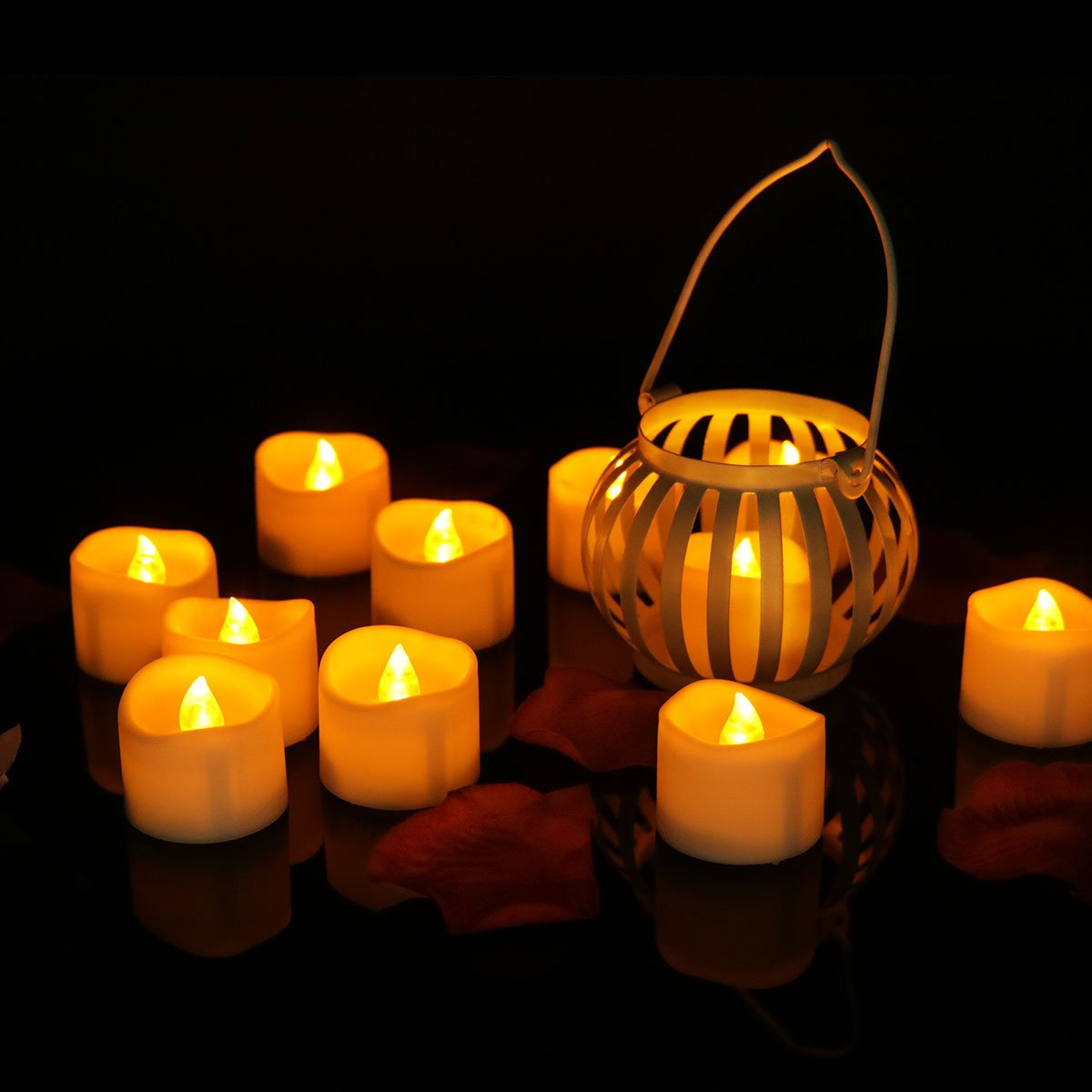 Tea Lights Led Timer (6 Hours on, 18 Hours Off), Flameless Flickering Candles Amber Yellow 24pcs for Halloween, Christmas, Window, Wedding, Fireplace, Lantern, Craft Project (Uneven)