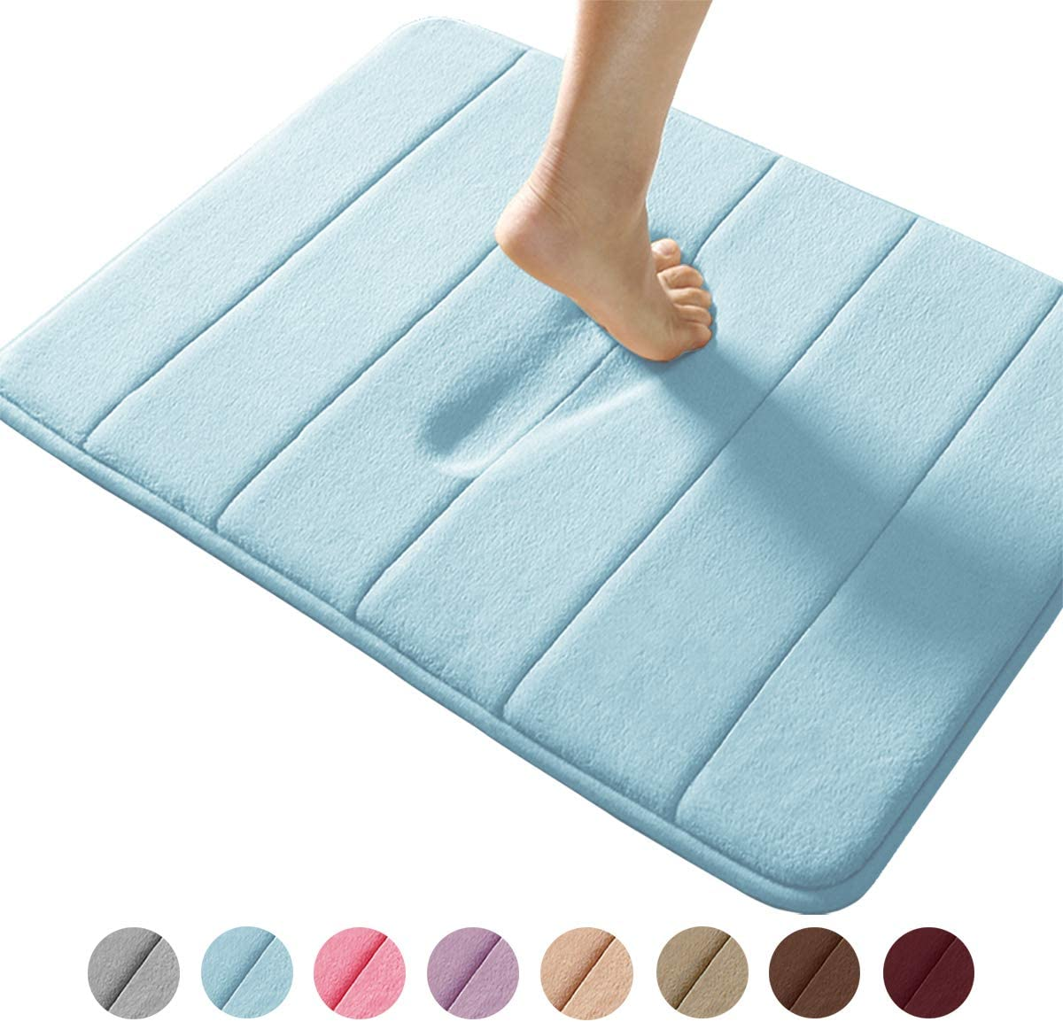 Memory Foam Bath Mat Coral Velvet/Super Non-Slip/Rapid Water Absorption/Soft and Comfortable/Easier to Dry/Machine Wash Bathroom Mat 17 X 24 inches Coffee