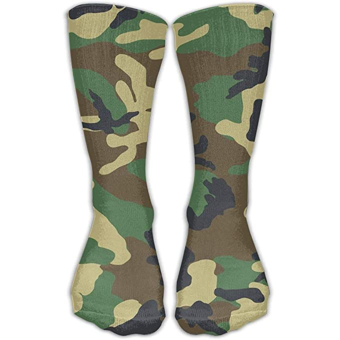 Army Green Camouflage Pattern Knee High Socks For Mens ...