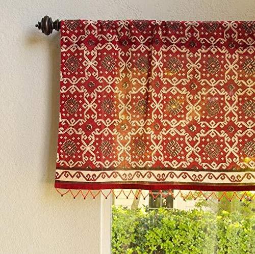Saffron Marigold Sheer Rustic Beaded Valance Ruby Kilim Window Treatment | Hand Printed Red Turkish Rustic Bohemian Decorative Top Curtains 46 x 17