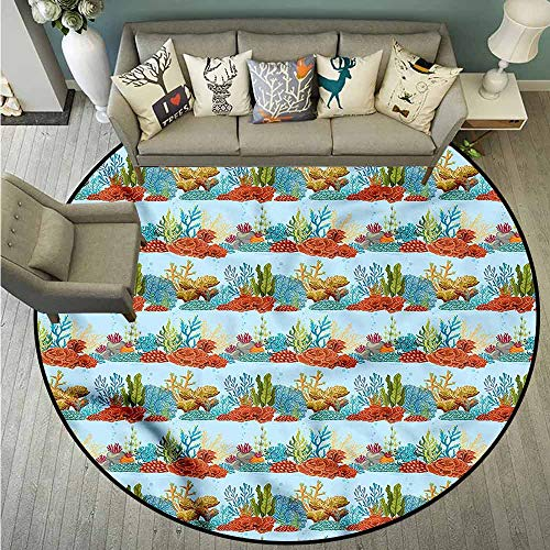 Bedroom Rugs,Aquarium,Coral Reefs and Algaes,with No-Slip Backing,3'3