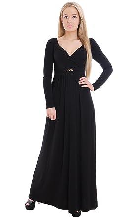 Langes Schwarzes Damenkleid Jersey Langer Arm Empire Maxikleid  Amazon.de   Bekleidung 67520a62c2