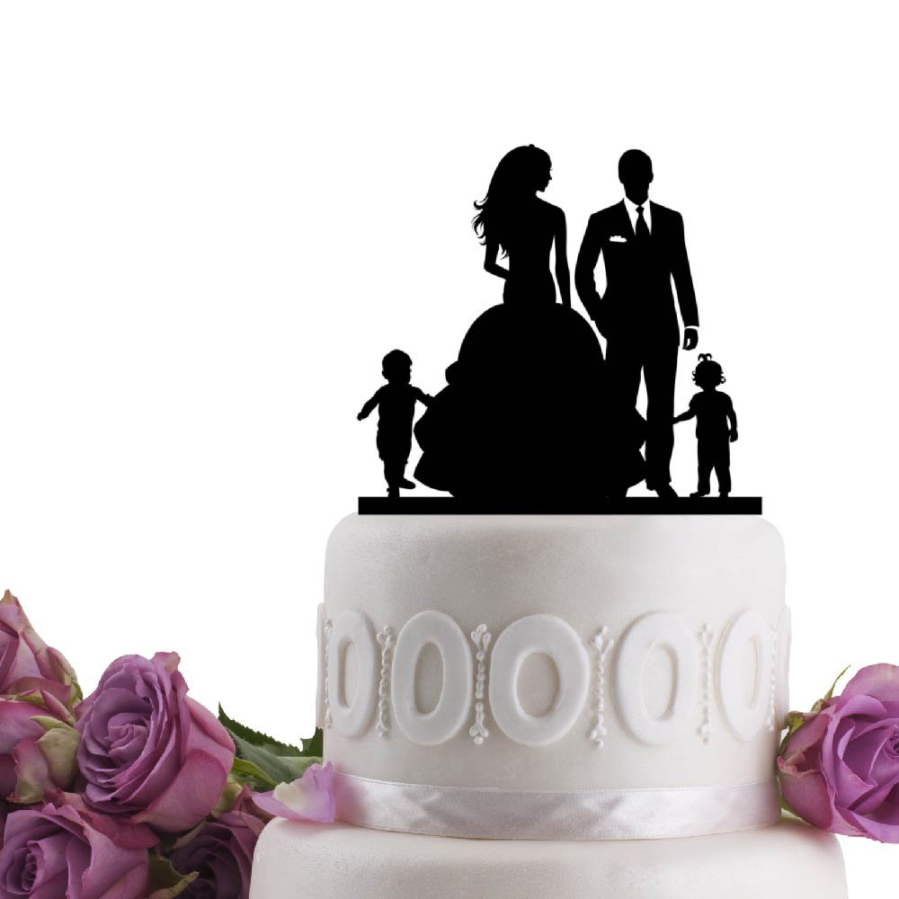 Bride - Groom with kids Boy and Girl Pick your silhouette Child Wedding Cake Topper Mr Mrs Children Black
