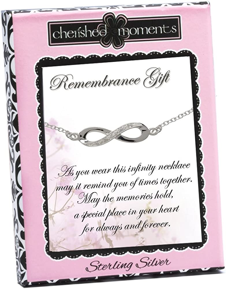Sterling Silver Infinity Keepsake Necklace with CZs Remembrance Gift for Bereavement 18 inch