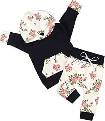 Baby Girls Lightweight Knit Floral Sweatsuit Clothing Set