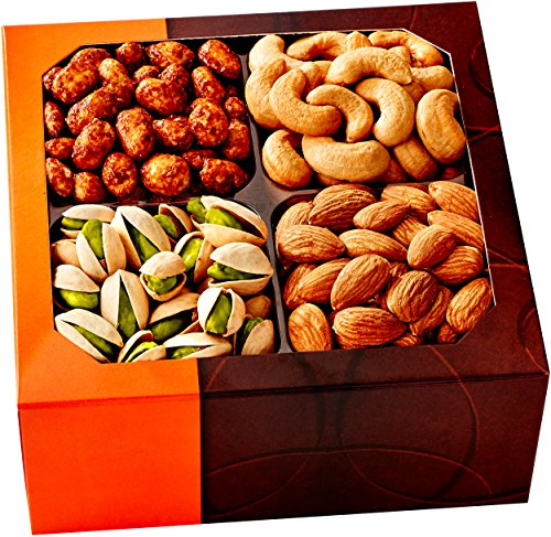 Holiday Gift Basket - Gourmet Food Nuts, 4 Different Delicious Nuts! - Five Star Gift Baskets (Wine And Nut Gift Baskets)