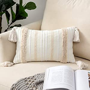 Woaboy 1 Piece Bohemian Tasseled Pillow Cover Boho Tuft Square Decorative Throw Pillowcase with Invisible Zipper for Bed Sofa Couch Outdoor Living Room 12 X 20Inch 30 X 50cm Stripe Beige