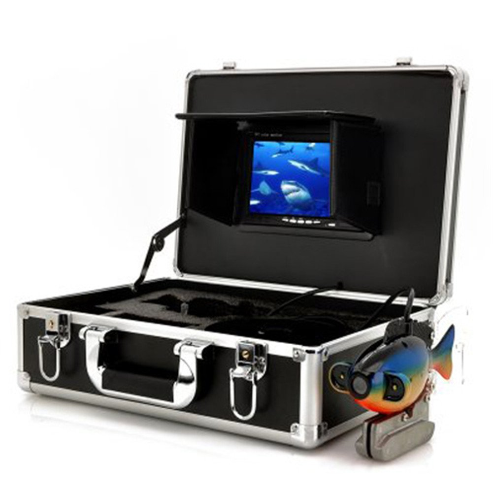 Ennio Sy8000 7'' Color TFT Underwater Fish Finder Video Camera Luxury Set w/ 20m Cable / Case - Black