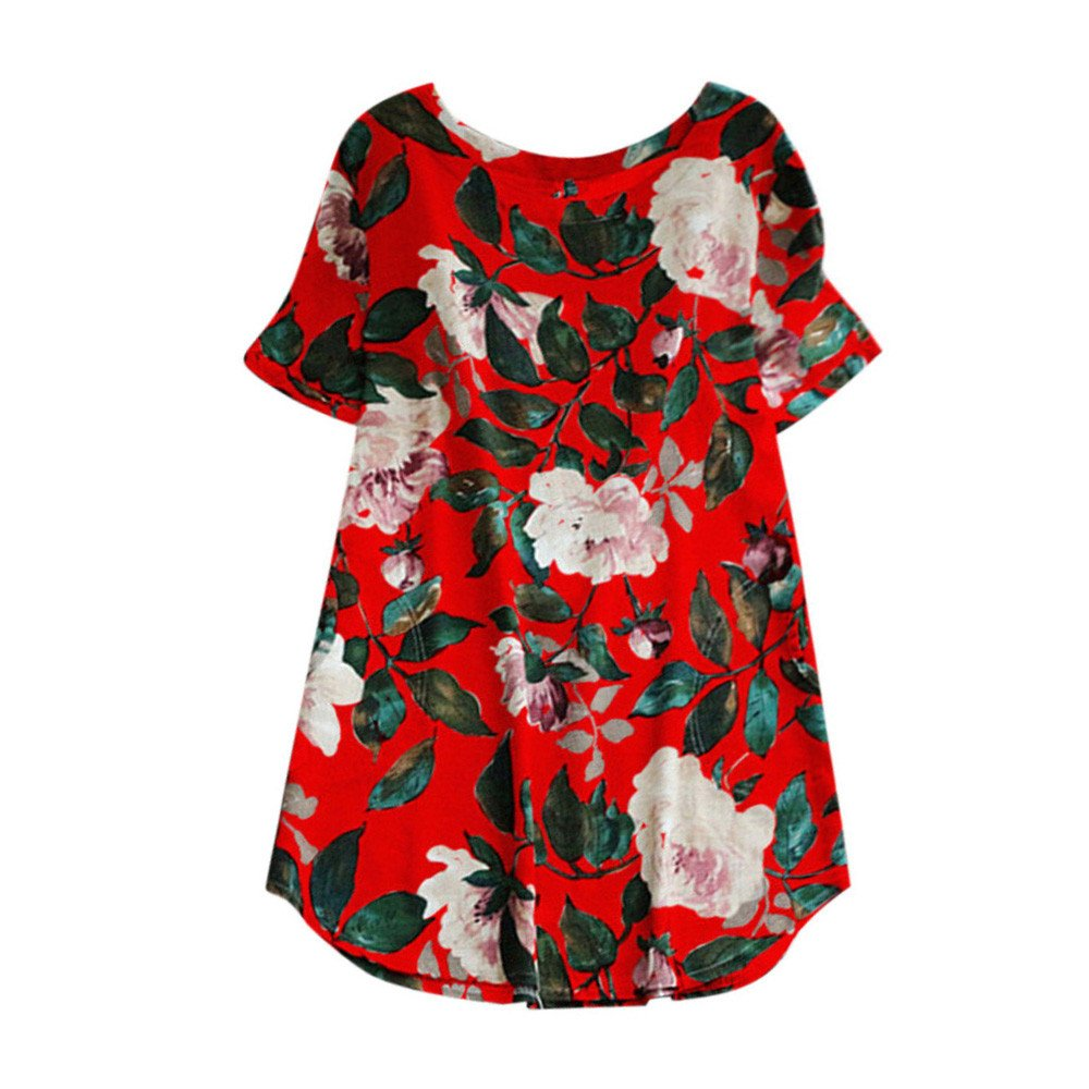 Respctful✿Women Short Sleeve Floral Printed Cotton Linen Mini Dress for Summer Plus Size Party Long Sleeve Dress Red