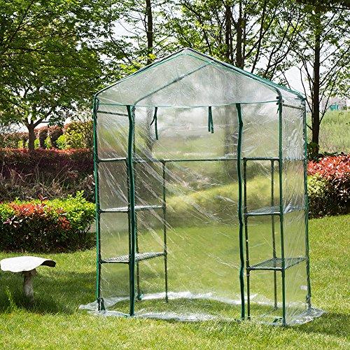 Cheap  Glitzhome Garden Backyard 3 Shelf Mini Walk-In Greenhouse