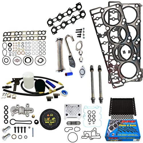 Ford 6.0L 6.0 Powerstroke Kit - 2003-2004.5 - Early 6.0L Early Stage 4 Kit - ARP Studs Head Gasket Stand Pipe Oil Cooler Coolant Filtration Kit Degas Cap Stand Pipes Blue Spring Kit Intake and Exhaust