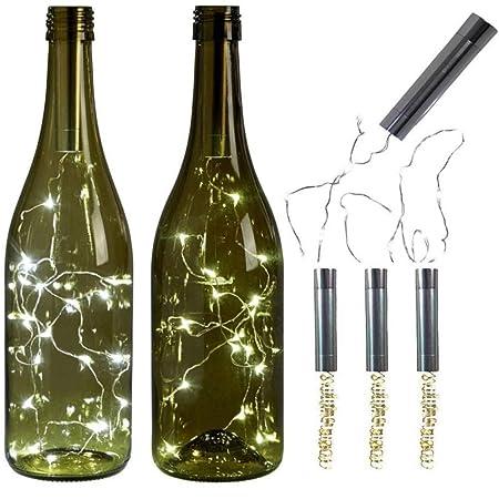 BESTOYARD Luces de Cadena de Botellas de Vino 1M 10 LED Cobre Alambre Cadena Estrellado LED Luces para DIY y Decoración Navidad Casa Blanco Sin Batería: ...