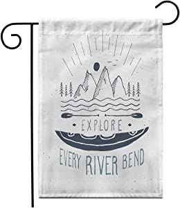"""Adowyee 28""""x 40"""" Garden Flag Kayak Canoe Label Grunge Retro Typography Print Activity Art Drawn Extreme Fashion Outdoor Double Sided Decorative House Yard Flags"""