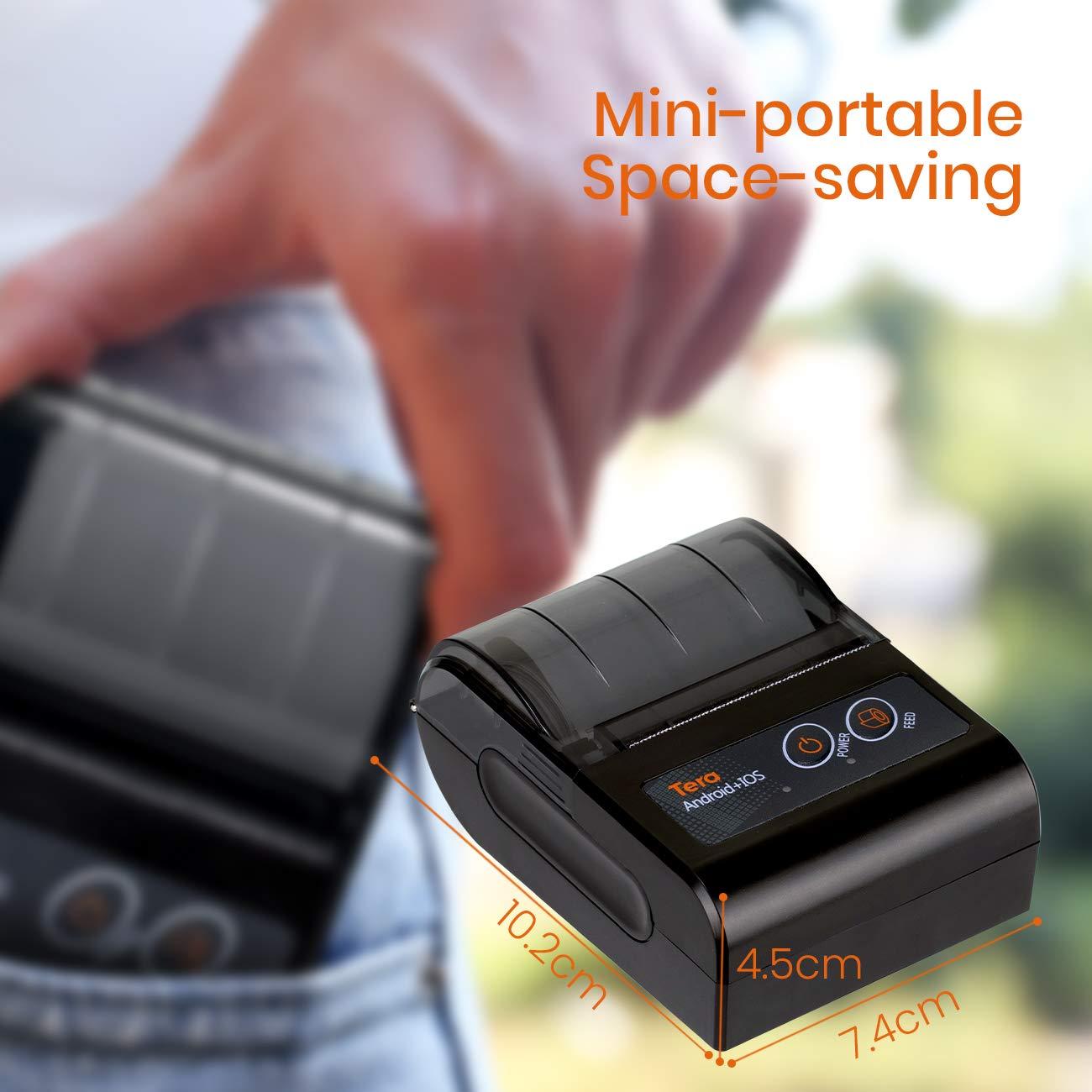 Mini Impresora Inal/ámbrica Bluetooth 4.0 con 2 Bater/ías Recargables Compatible con Android iOS Tera Impresora T/érmica Port/átil de Recibos