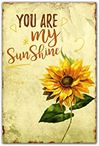 Sunflower sign You Are My Sunshine Sunflowers Retro Vintage Metal Plaque Tin Sign Home Kitchen Bedroom Hotel Restaurant Wall Art Decor Signs 12X8inches