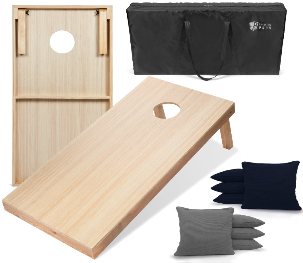 Tailgating Pros 4'x2' WoodGrain Finish Cornhole Boards w/Carrying Case & set of 8 Cornhole Bags (YOU PICK COLOR) 25 Bag Colors! (Navy Blue/Grey) by Tailgating Pros