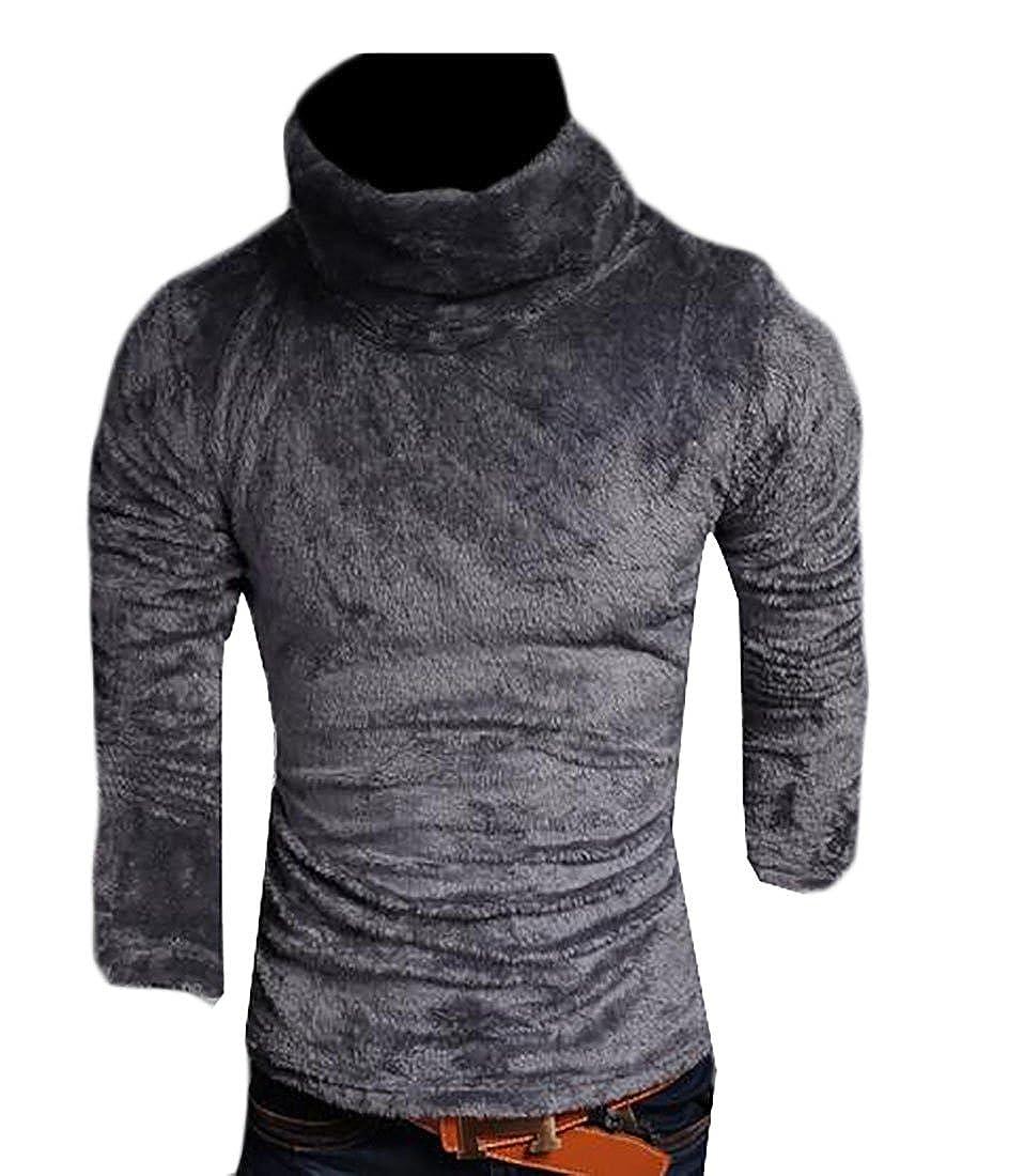 Smeiling Men Autumn Winter Warm Thicken Velvet High Neck Long Sleeve Sweater