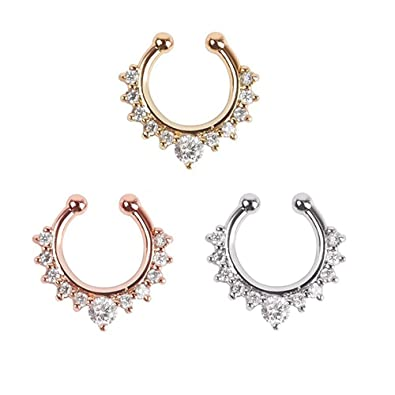 82bf0228a Amazon.com: BODYA 3Pcs Fake Nose Ring CZ Crystal Septum Piercings Clicker  Faux Clip Non Pierced Hoop Ring Silver Gold: Jewelry