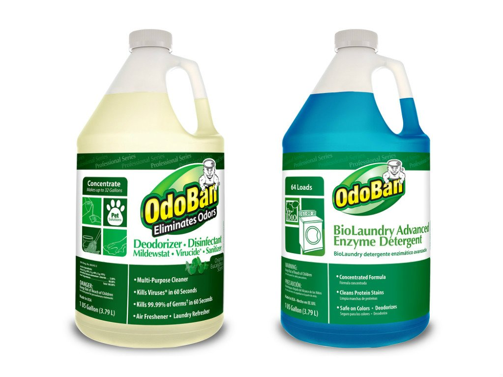 OdoBan Professional Cleaning and Odor Control Solutions, 1 Gal Eucalyptus Odor Eliminator Disinfectant and 1 Gal BioLaundry Advanced Enzyme Detergent by OdoBan