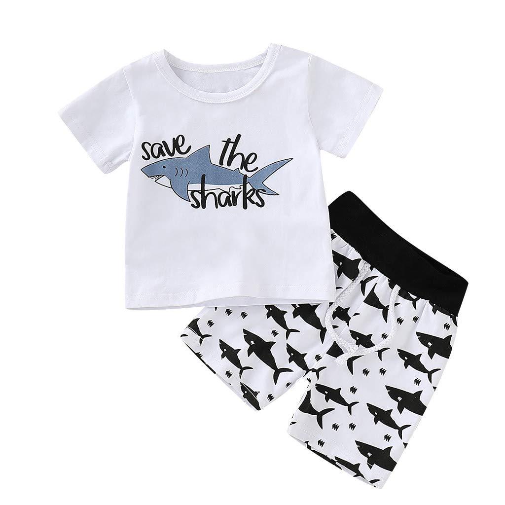 Bebés de Ropa Encantadora, YpingLonk Estampado Tiburon Sudadera de Recién Nacidos 0-18 Meses Aprendiendo a Caminar Conjunto Camiseta y Short Colección 2 ...