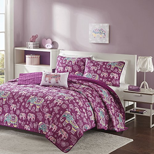 3 Piece Girls Berry Purple Boho Chic Elephant Theme Coverlet Twin XL Set, Beautiful Girly All Over Bohemian Paisley Floral Bedding, Multi Elephants Flower Themed Pattern, Plum Yellow White (Bed Beautiful Quilts)