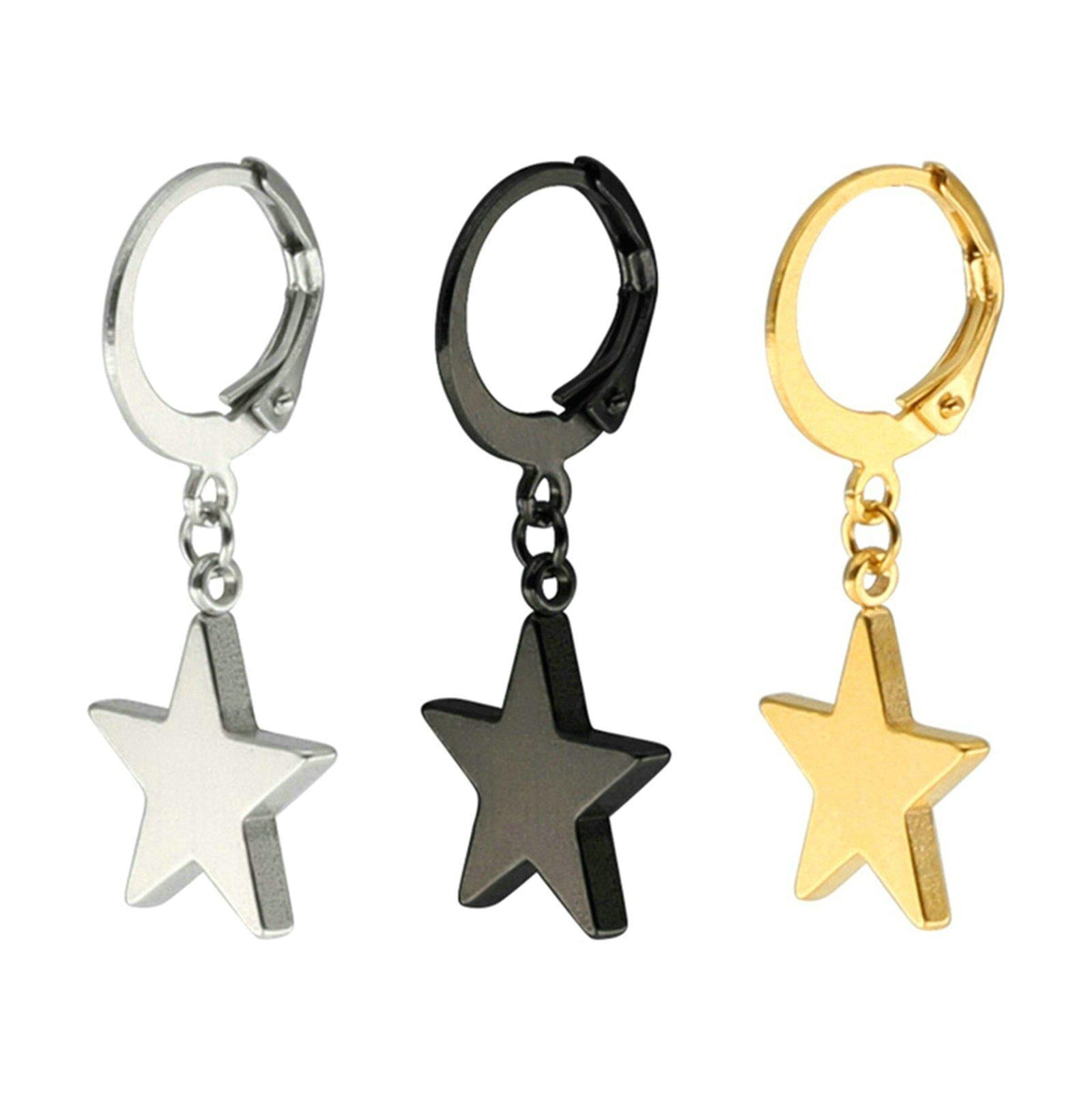 Aooaz, 3Pcs Stainless Steeel Star Hoop Earrings Teens Dangling Earrings Teens Sets for Men Women 13MM