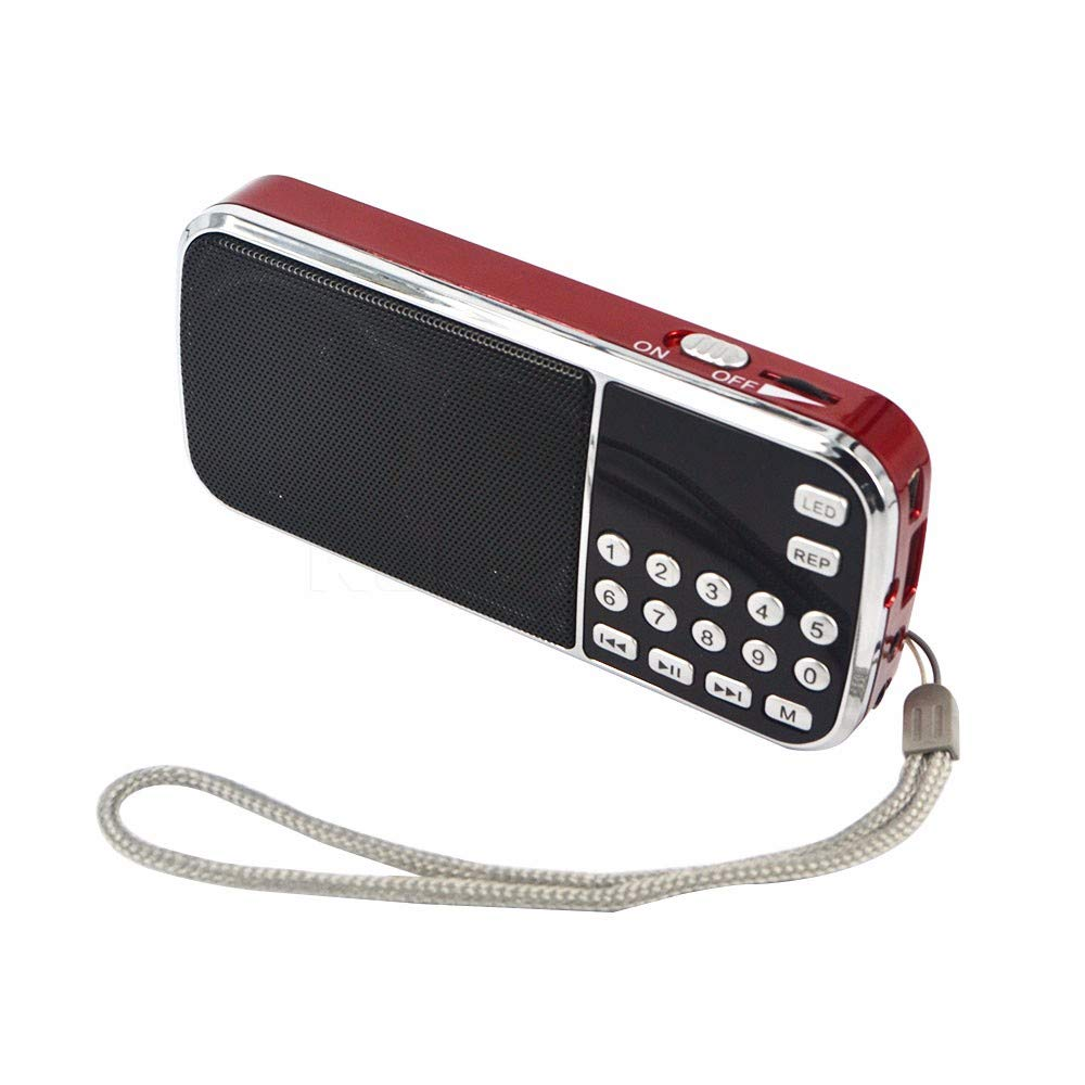 PRUNUS Mini Portable FM Hi-Fi Sound Quality MP3 Radio, Long Playing Time (More Than 10 Hours), with A Hidden Antenna (Inside of The Hand Strap), with Emergency Flashlight Function. Rechargeable and Replaceable Battery. Stores Stations Automatically. Suppor