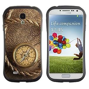 All-Round híbrido de goma duro caso cubierta protectora Accesorio Generación-I BY RAYDREAMMM - Samsung Galaxy S4 I9500 - Captain Ship Navigation Compass Vintage