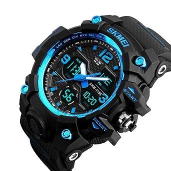 Reloj de Hombre Multifuncional Militar Resistente al Agua diseño Simple números Grandes Pantalla LCD Digital Casual Hombre Reloj electrónico
