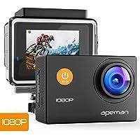 APEMAN Action Cam Full HD 1080P con Custodia Impermeabile Subacqueo Action Sport Camera 170°Grandangolare e Kit Accessori per Ciclismo Nuoto e altri Sport Esterni (Nero)