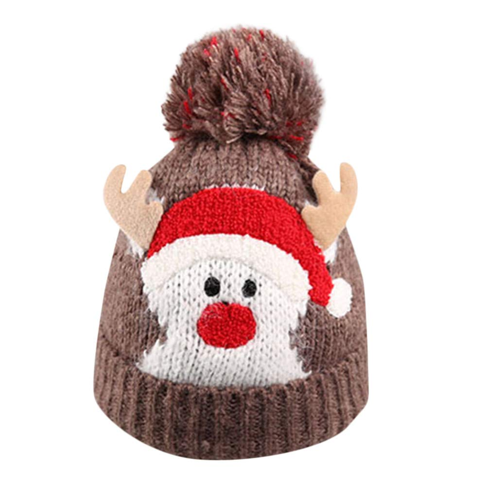 d4b35607277 Amazon.com  Baby Christmas Thanksgiving Beanie Knitted Cap Warm Toddler  Santa Deer Elk Knit Hat for Fall (Black)  Clothing