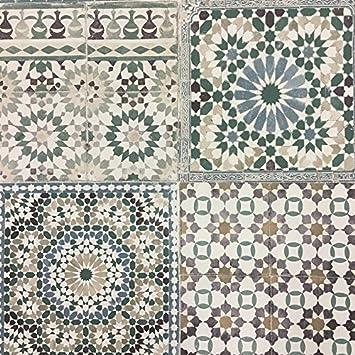 grandeco botanisch marokkanische kachel muster tapete retro blumenmuster texturiert motiv grn ba2502 - Muster Tapete