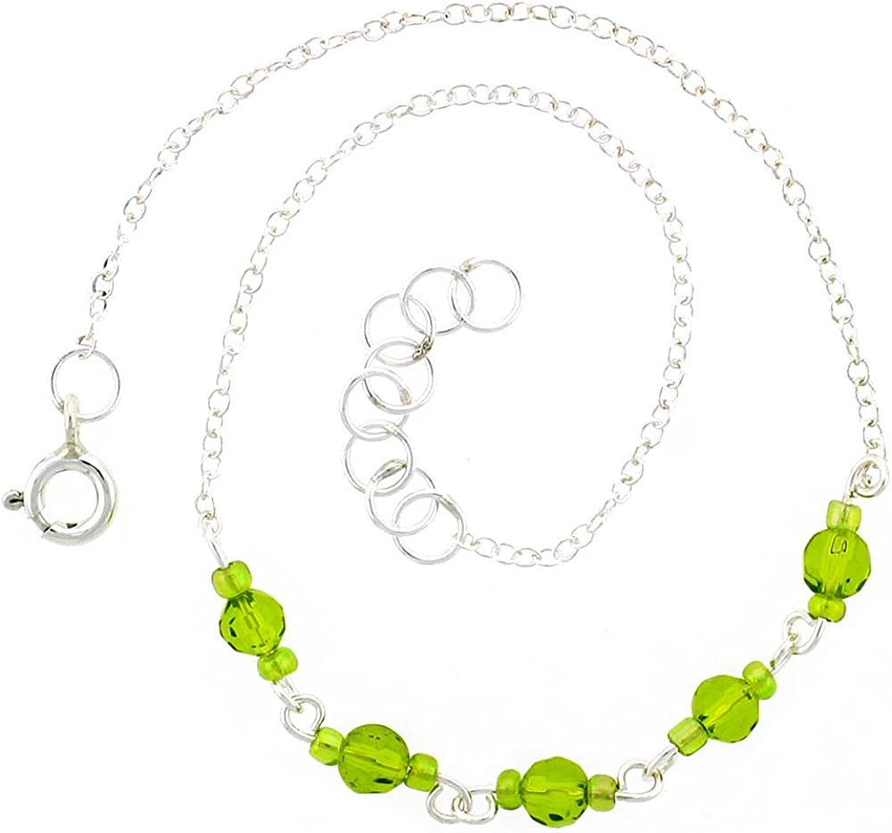 Sterling Silver Anklet Natural Faceted Peridot and Glass Seed Beads, Adjustable 9-10 inch