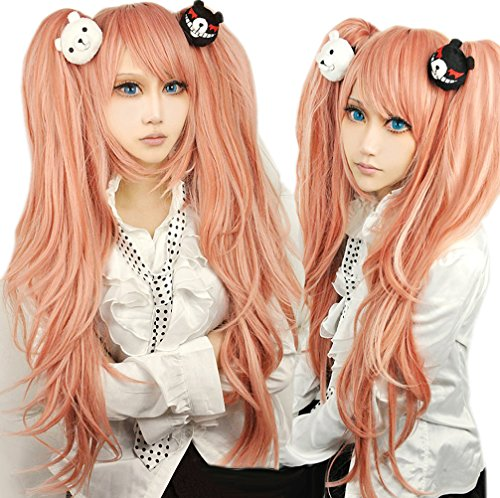 UpdateClassic Long Curly Wig With Two Ponytail Junko Enoshima Stage Costume Wig