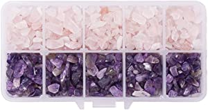 PandaHall Elite 1 Box Tumbled Chip Gemstone Beads Crushed Pieces Stone for Jewelry Making Natural Amethyst and Natural Rose Quart