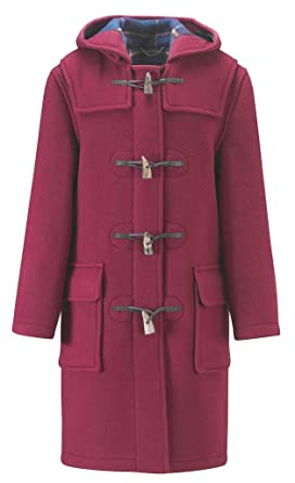 Ladies Long Duffle Coat Burgundy: Amazon.co.uk: Clothing