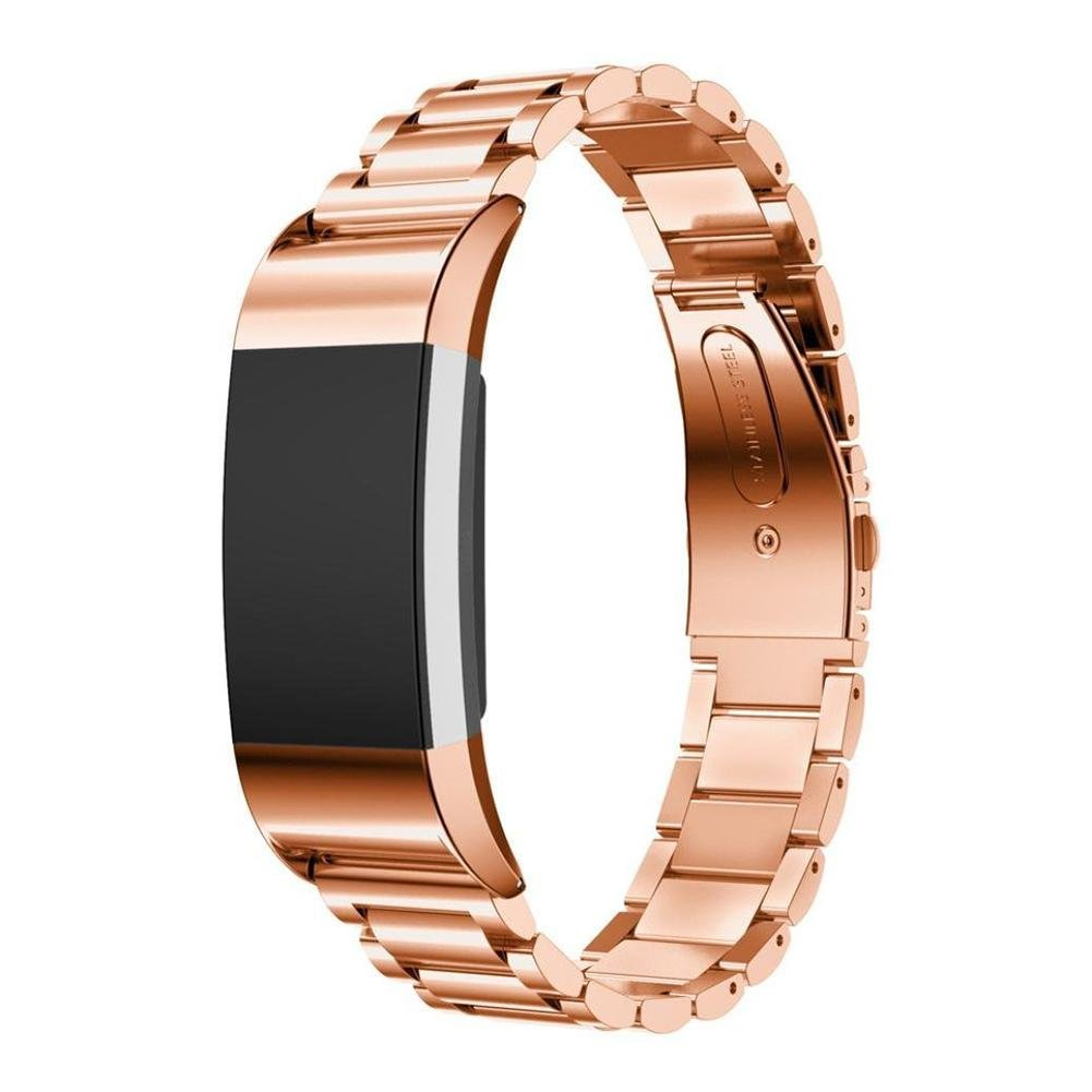 Vovi for Fitbit Charge 2 Band Strap Metal Unique Stainless Steel Bracelet Fitbit Charge 2 Band Silver Rose Gold Smart Watch Wristband for Women