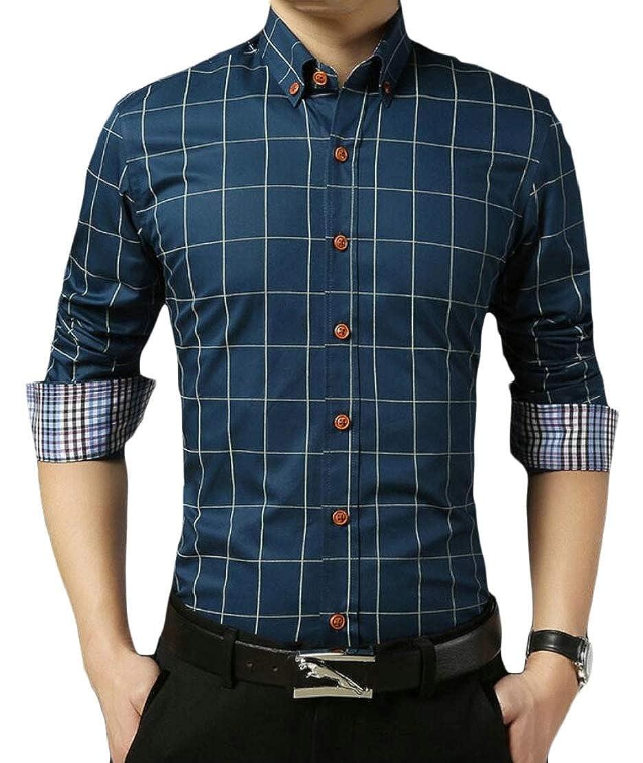 Qiangjinjiu Mens Cotton Long Sleeve Button Down Dress Shirt Business Slim Fit Shirt