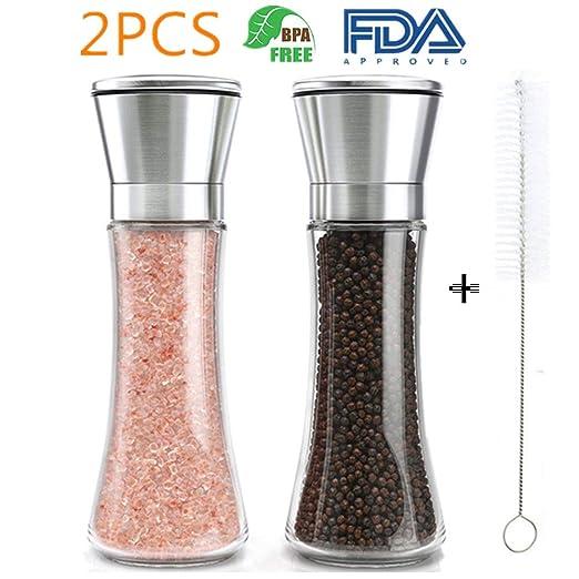 Molinillo sal y Pimienta - Molinillos de Especias, Acero Inoxidable y Vidrio, Molido Grueso y Fino (2 PCS + Cleaning Brush)