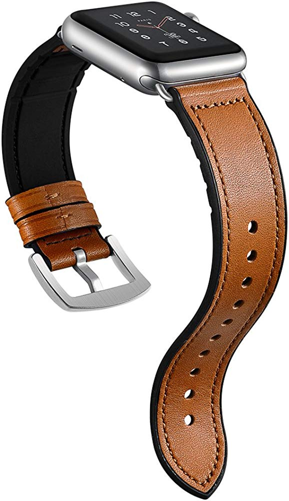 Sweatproof Hybrid Leather Sports Watch Band Vintage Replacement Bands for Apple Watch iwatch Series 4 3 2 1 Dark Brown Replacement Straps with Sliver ...