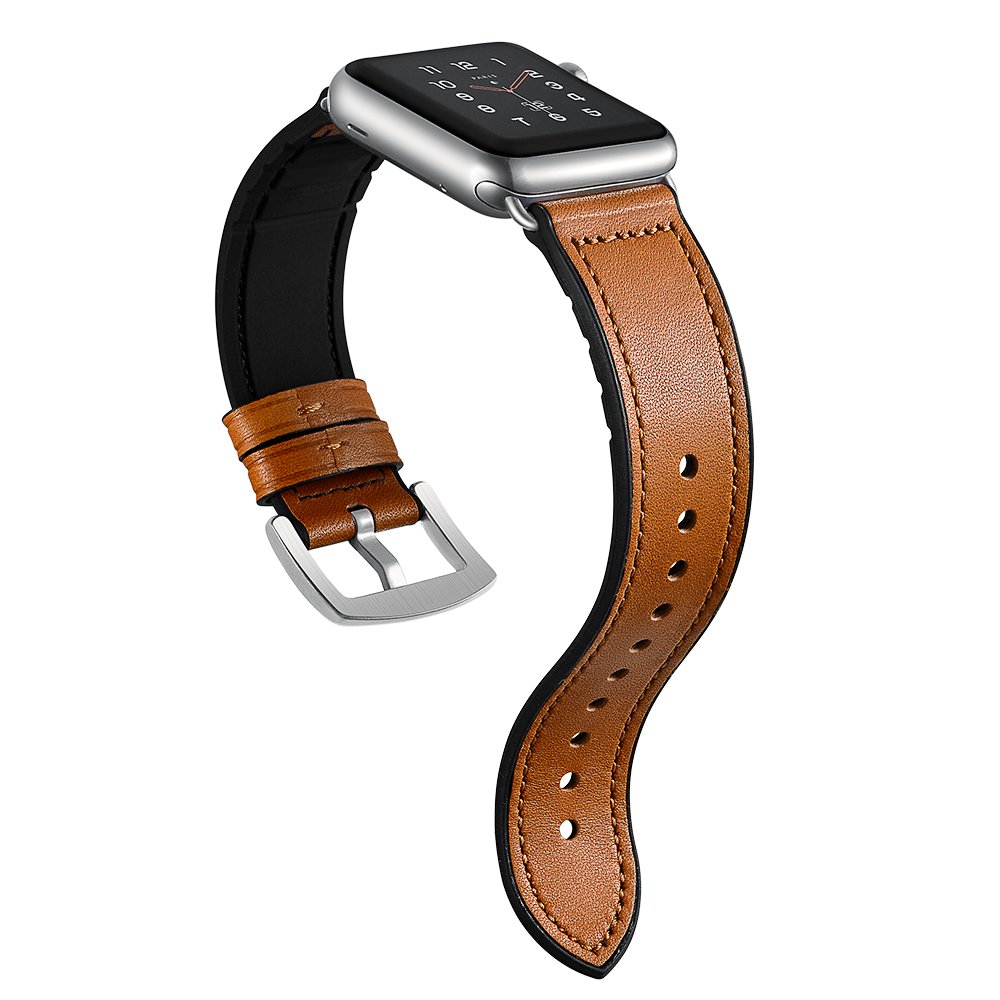 Sweatproof Hybrid Leather Sports Watch Band Vintage Replacement Bands for Apple Watch iwatch Series 123 Dark Brown Replacement Straps with Sliver Stainless Steel Buckle Clasp (42mm, Brown)