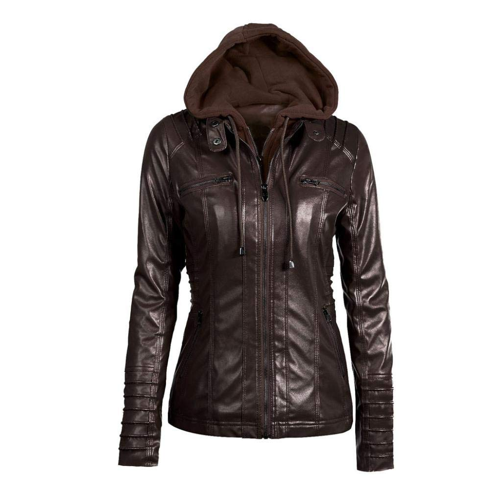 Rambling Womens Hooded Leather Jacket, Slim Overcoat Coat Lapel Removable Zipper Outwear Tops