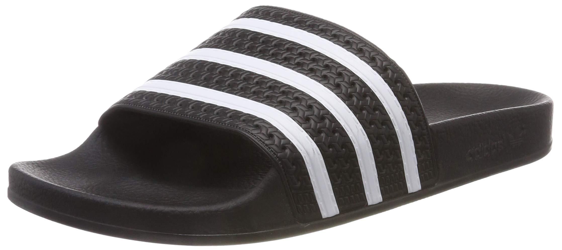 cfc9fc8462214 adidas Originals Men's Adilette Slide Sandals, White/Black, ((10 M US)