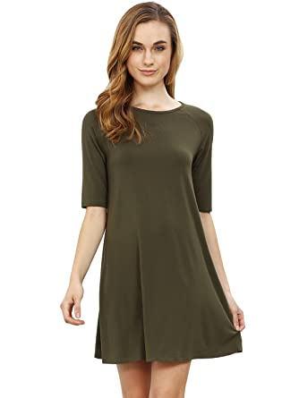 ROMWE Women's Short Sleeve Casual Loose Fit T-Shirt Tunic Dress ...
