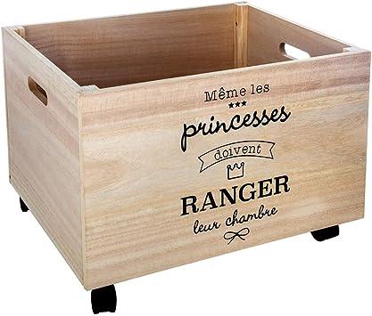 Atmosphera - Caja de madera para almacenar juguetes, con ruedas, 50 x 40 x 36 cm: Amazon.es: Bricolaje y herramientas