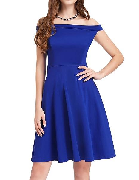 e1cb52d025dd GRACE KARIN 50s Style High Stretchy Vintage Swing Skater Dress A-line Size  S Blue